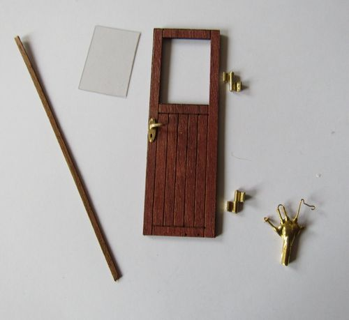 Door with window - right - wood dark - scale 1/20